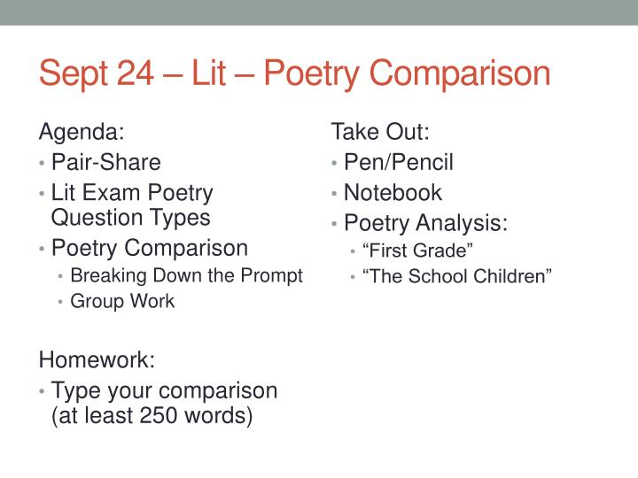 poetry a comparative analysis