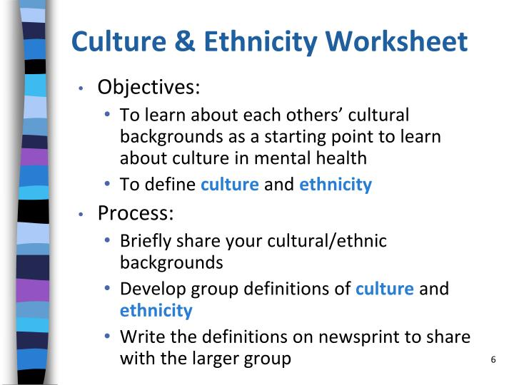 Culture & Ethnicity Worksheet