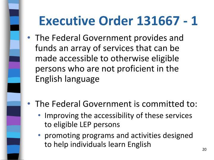 Executive Order 131667 - 1