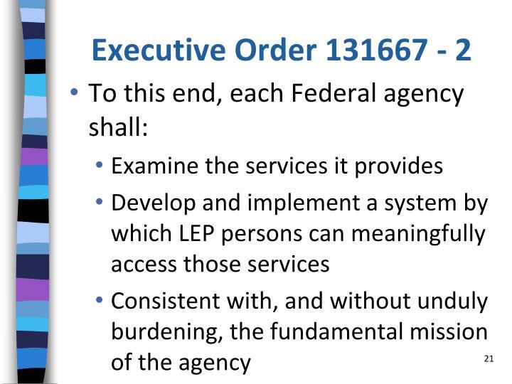 Executive Order 131667 - 2