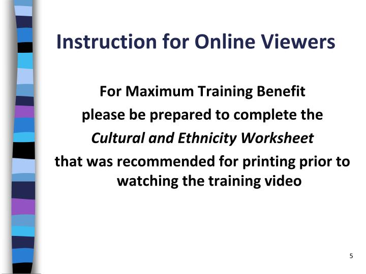 Instruction for Online Viewers