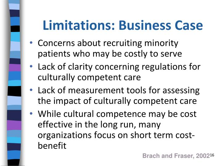 Limitations: Business Case