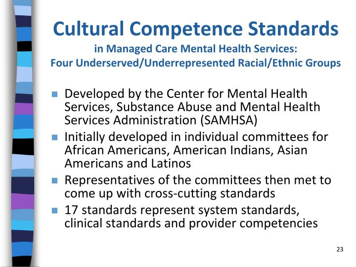 Cultural Competence Standards