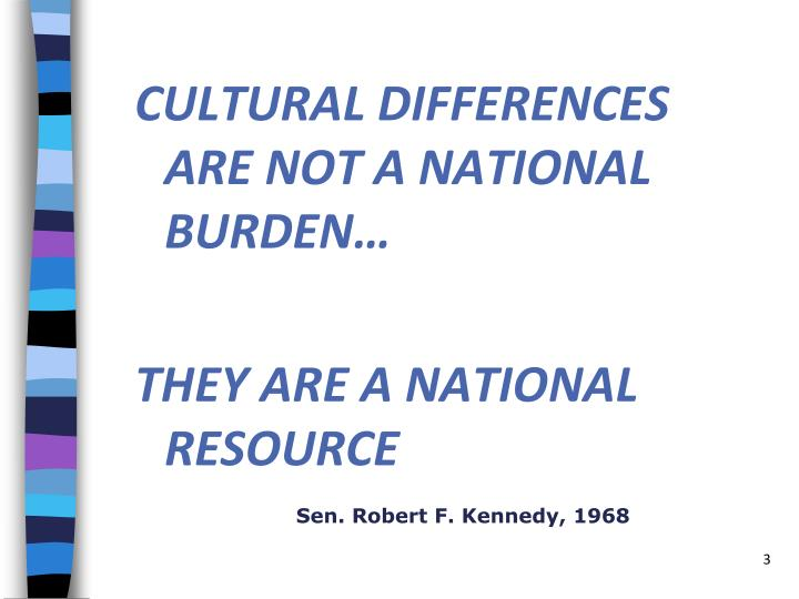 CULTURAL DIFFERENCES ARE NOT A NATIONAL BURDEN…