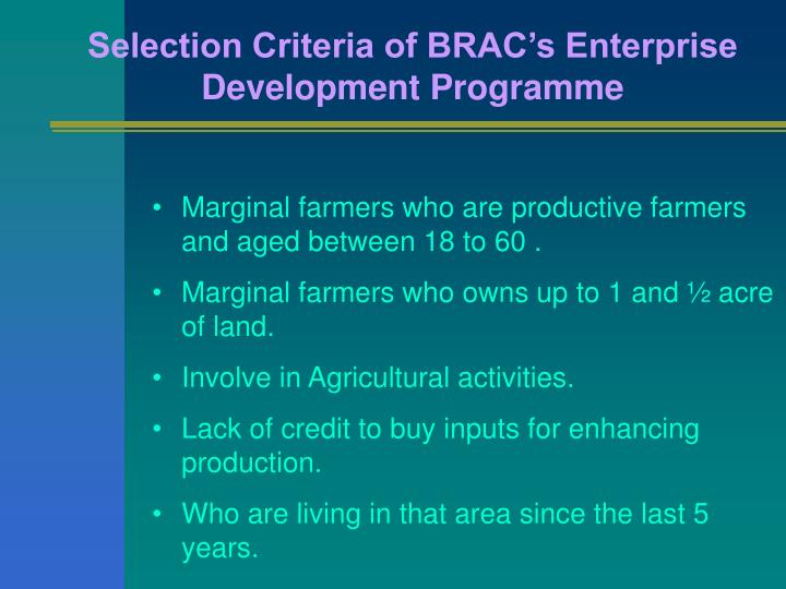 Selection Criteria of BRAC's Enterprise Development Programme
