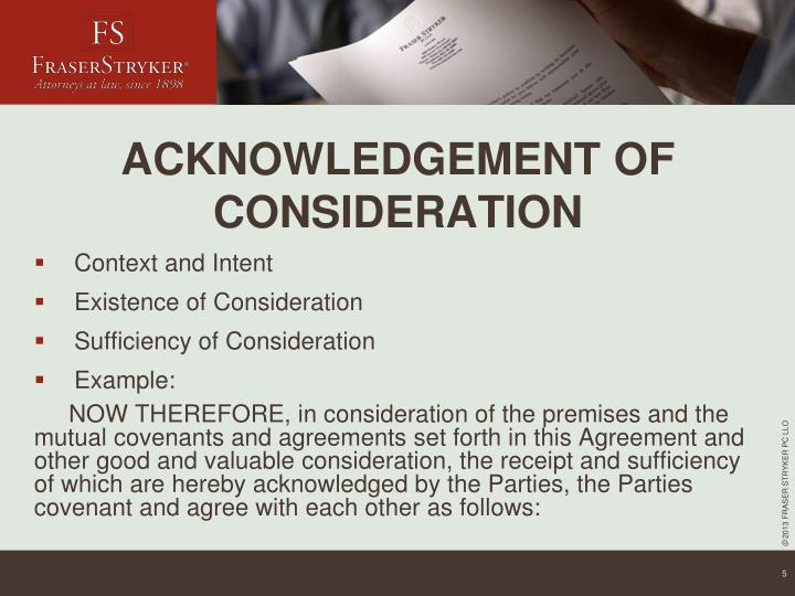 ACKNOWLEDGEMENT OF CONSIDERATION