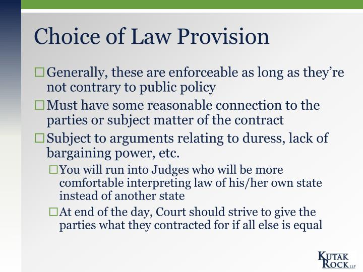Choice of Law Provision