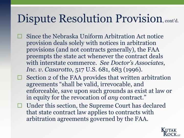 Dispute Resolution Provision