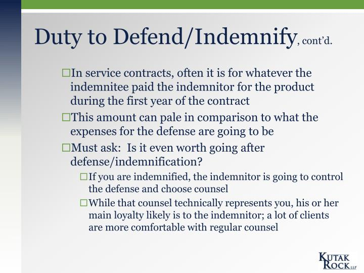 Duty to Defend/Indemnify