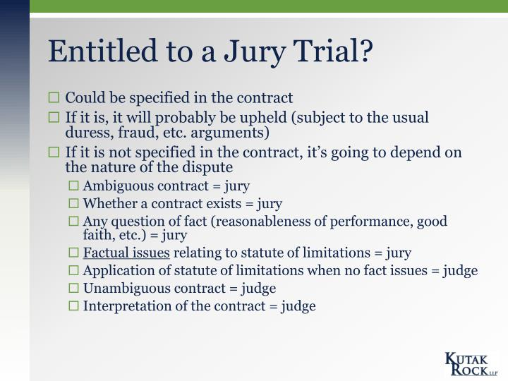 Entitled to a Jury Trial?