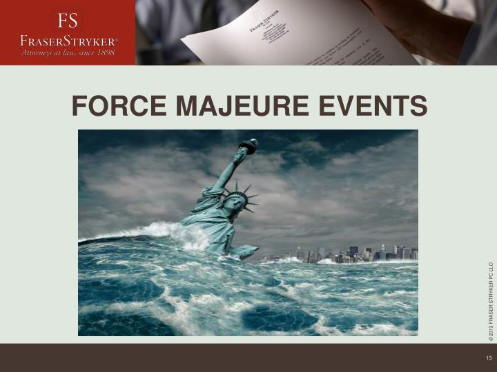 FORCE MAJEURE EVENTS