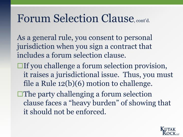 Forum Selection Clause