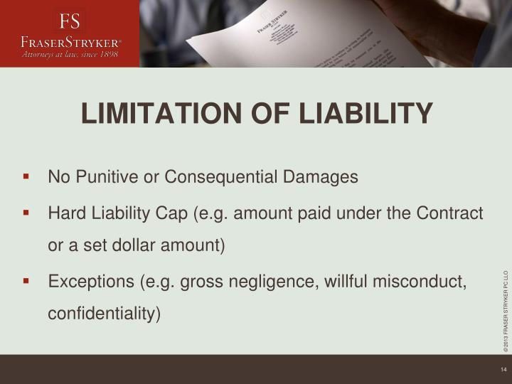 LIMITATION OF LIABILITY