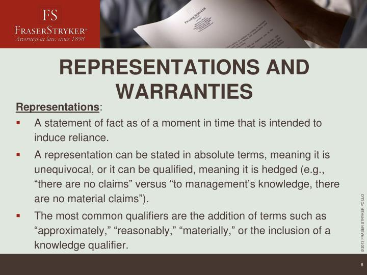 REPRESENTATIONS AND WARRANTIES