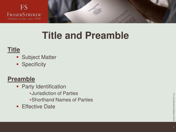 Title and preamble