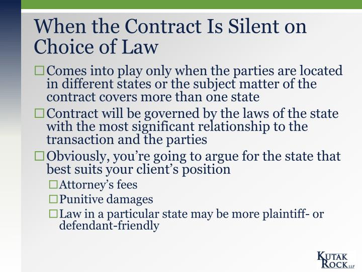 When the Contract Is Silent on Choice of Law