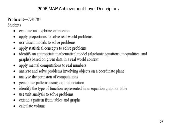 2006 MAP Achievement Level Descriptors