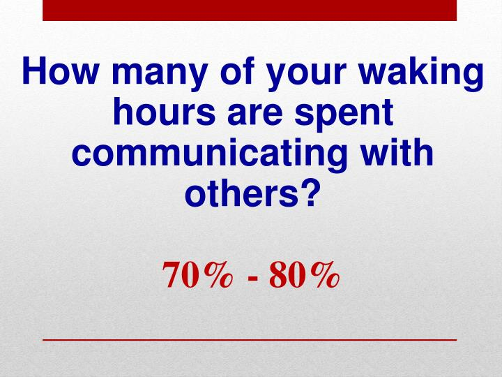 How many of your waking hours are spent communicating with others 70 80