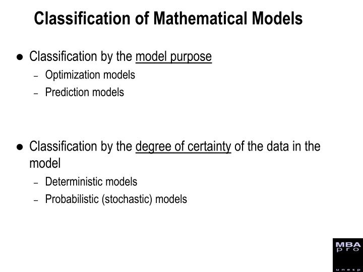 Classification of Mathematical Models