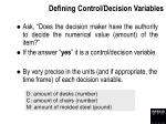 defining control decision variables