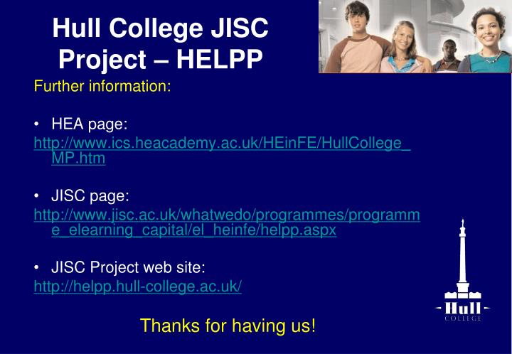 Hull College JISC Project – HELPP