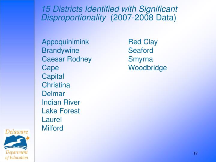 15 Districts Identified with Significant Disproportionality