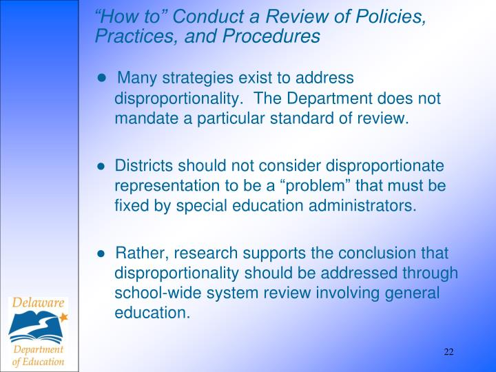 """""""How to"""" Conduct a Review of Policies, Practices, and Procedures"""