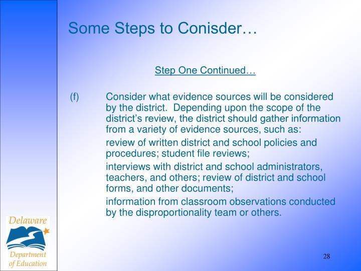 Some Steps to Conisder…