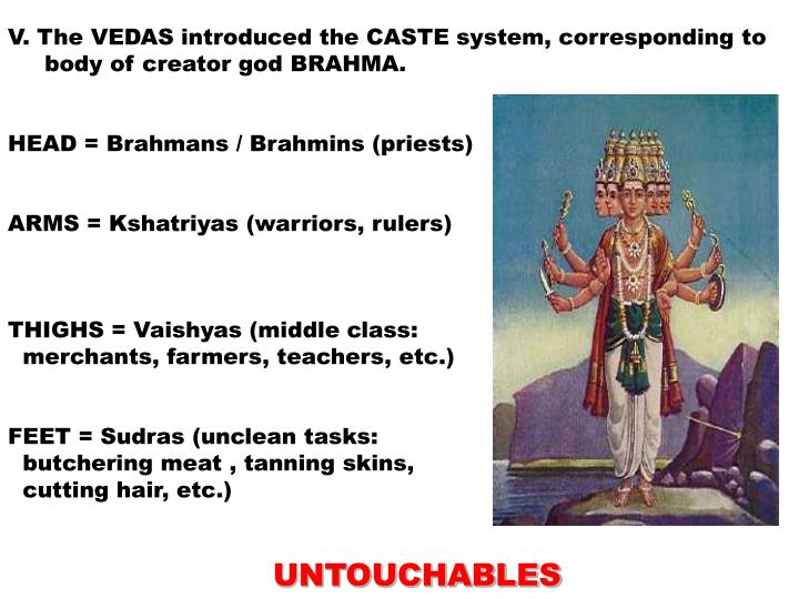 V. The VEDAS introduced the CASTE system, corresponding to