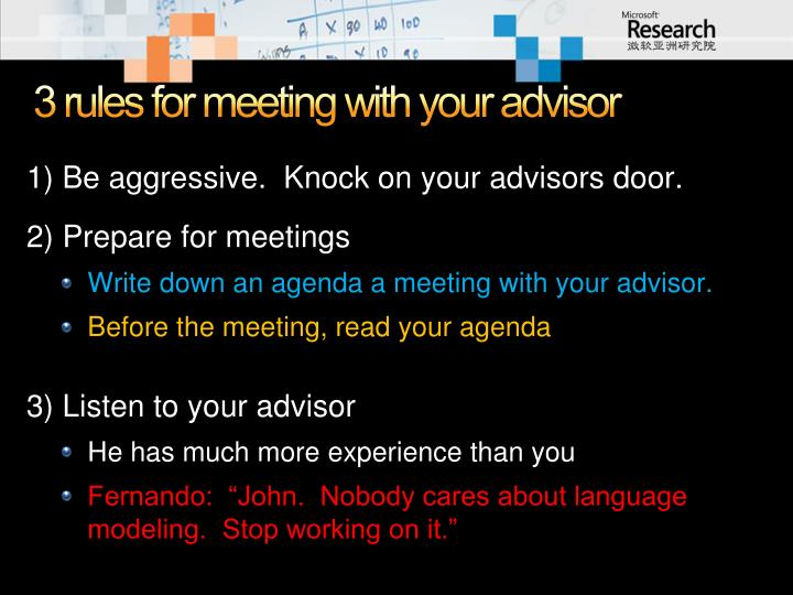 3 rules for meeting with your advisor