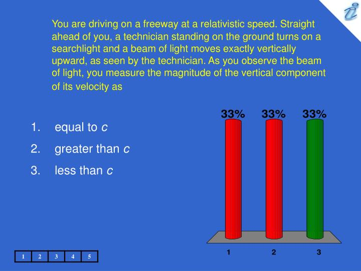 You are driving on a freeway at a relativistic speed. Straight ahead of you, a technician standing on the ground turns on a searchlight and a beam of light moves exactly vertically upward, as seen by the technician. As you observe the beam of light, you measure the magnitude of the vertical component of its velocity as