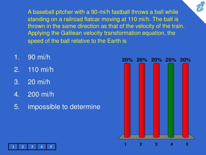 A baseball pitcher with a 90-mi/h fastball throws a ball while standing on a railroad flatcar moving at 110 mi/h. The ball is thrown in the same direction as that of the velocity of the train. Applying the Galilean velocity transformation equation, the speed of the ball relative to the Earth is