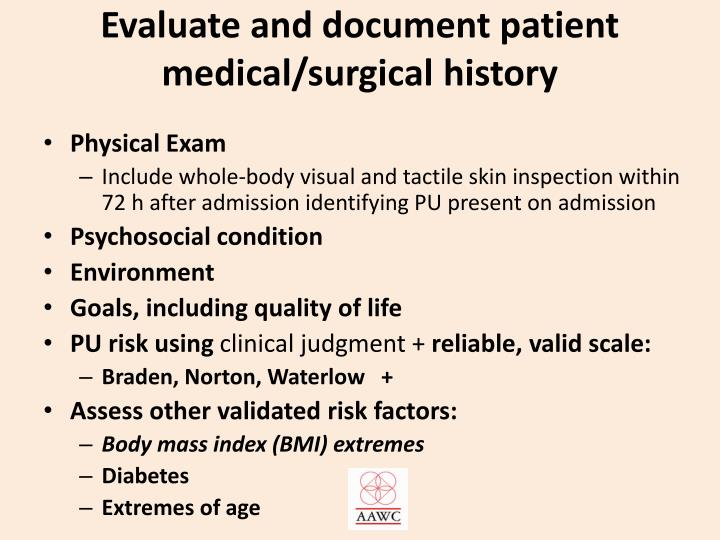 Evaluate and document patient medical/surgical history