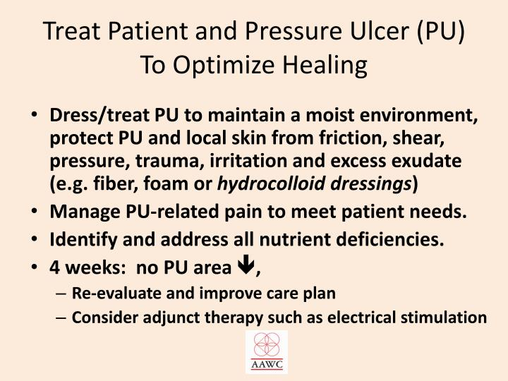 Treat Patient and Pressure Ulcer (PU) To Optimize Healing