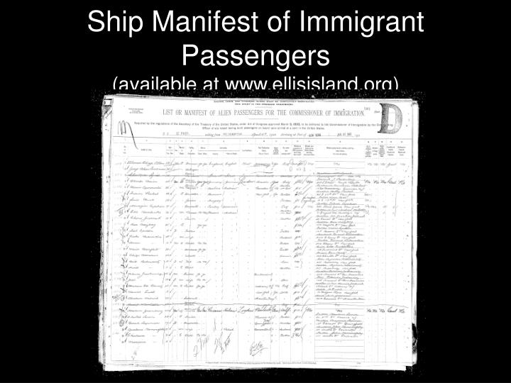 Ship Manifest of Immigrant Passengers
