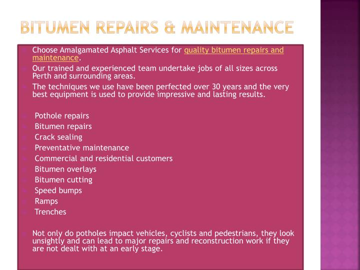 Bitumen Repairs & Maintenance