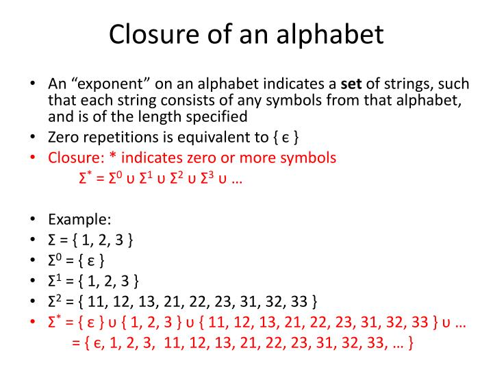Closure of an alphabet