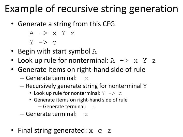 Example of recursive string generation