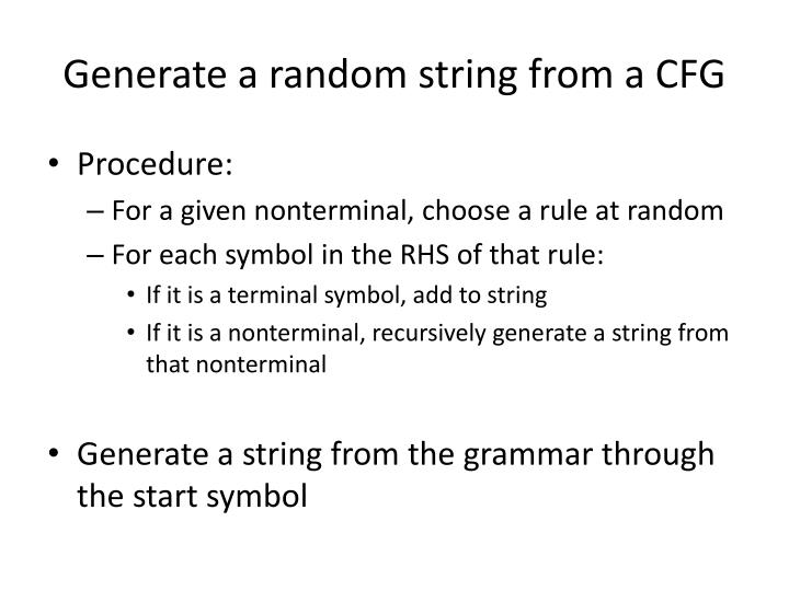 Generate a random string from a CFG