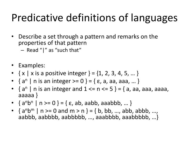 Predicative definitions of languages