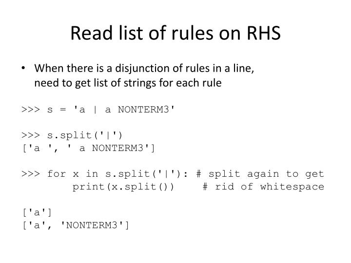 Read list of rules on RHS