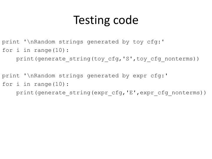 Testing code