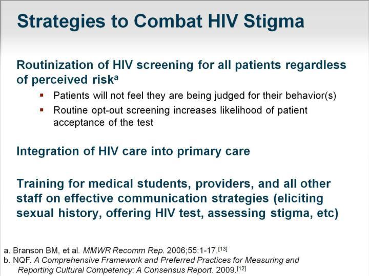 Strategies to Combat HIV Stigma