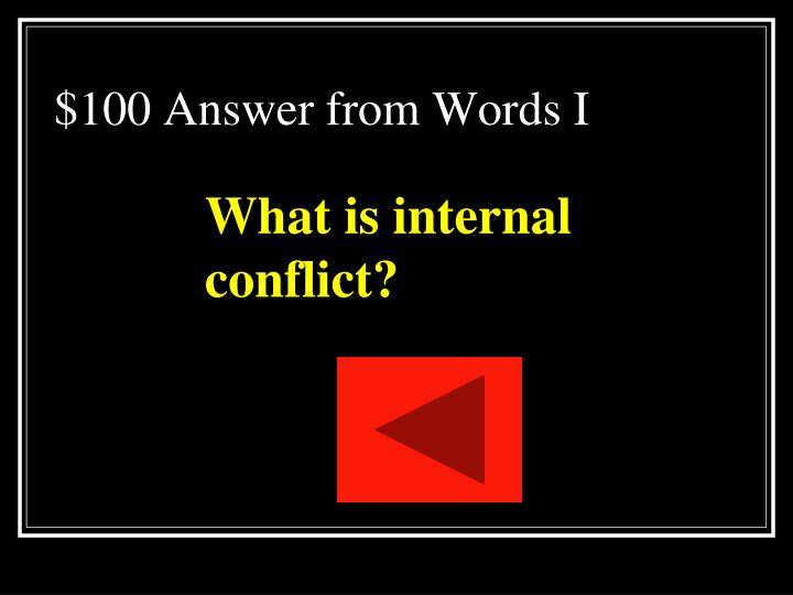 $100 Answer from Words I