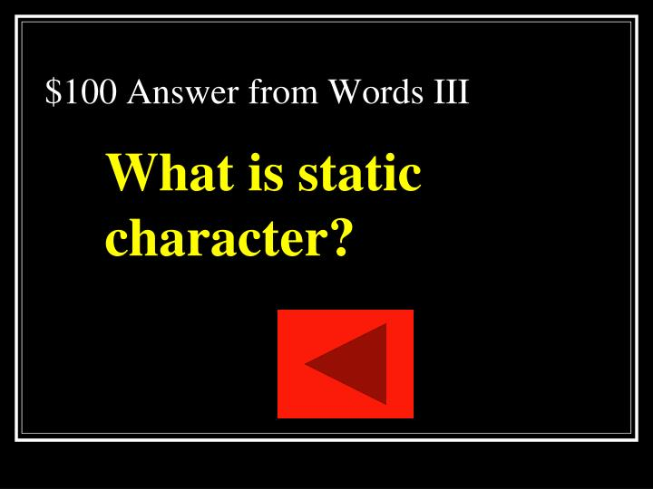 $100 Answer from Words III