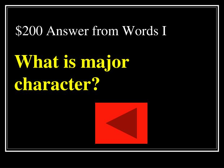 $200 Answer from Words I