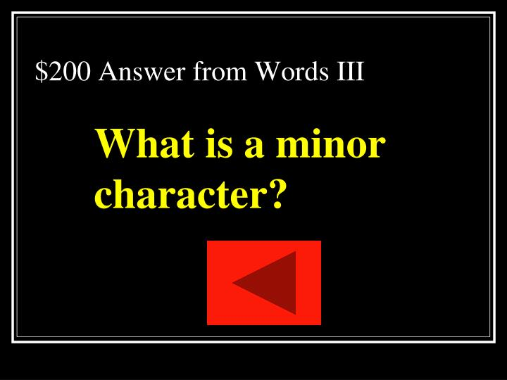 $200 Answer from Words III