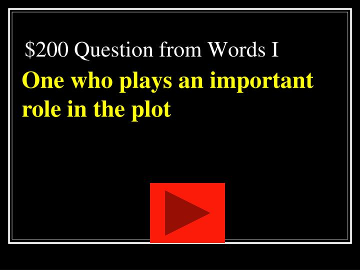$200 Question from Words I