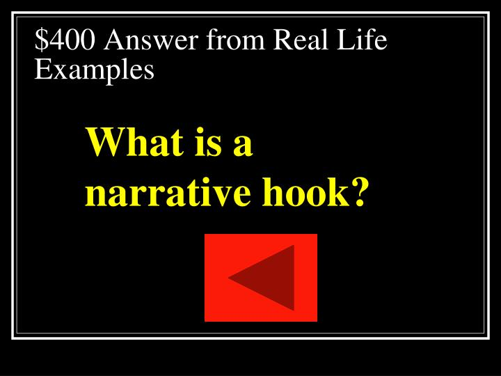 $400 Answer from Real Life Examples