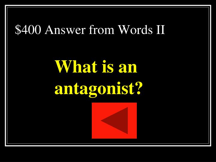$400 Answer from Words II
